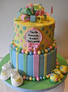 pink, blue and yellow baby shower cake
