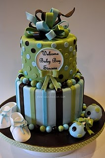 brown, blue and green baby shower cake