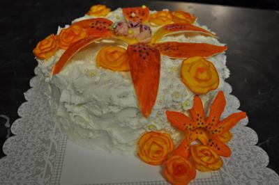 Orange Lily baby shower cake
