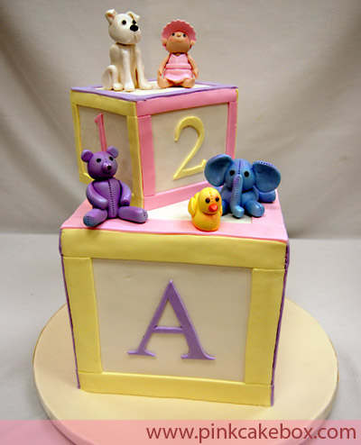baby blocks baby showe cake